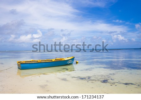 Lonely boat in sea - Seychelles, Africa