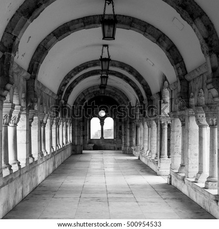 Long arch gallery of Fishermans Bastion, Buda castle, Budapest, Hungary, black and white image