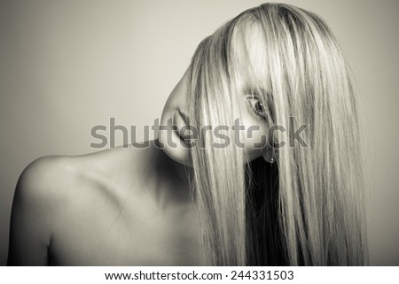 long blond hair - black and white photo