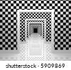 Long corridor. Checker edition. - stock photo