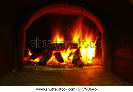 long exposure of fire in a pizza oven