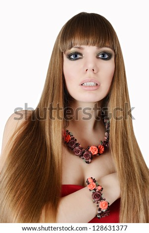 long hair of fashion young woman