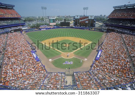 Long view of diamond and bleachers during professional Baseball game, Shea Stadium, NY