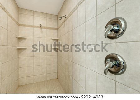 Long walk-in shower with two shower heads . Northwest, USA