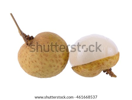 Longan on white background, Dimocarpus longan, Central of Thailand