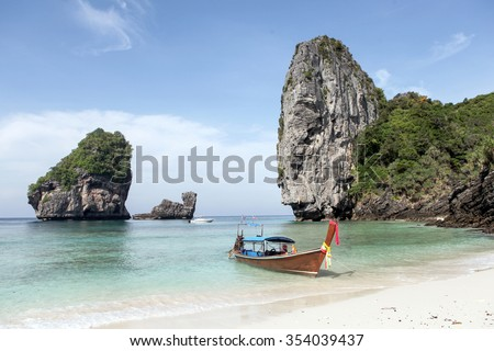 Longtail boat in nui Bay, Ko Phi Phi island, Thailand.