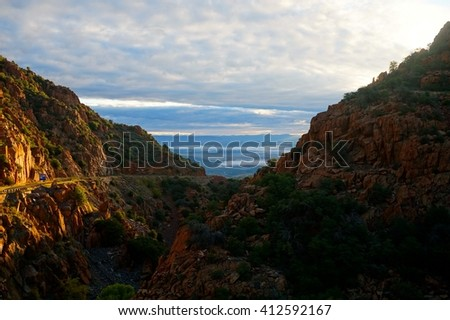 Look out point outside of Jerome Arizona at sunrise.