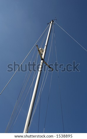 looking up at the mast of a yacht in kingswear marina dartmouth devon england europe uk taken in july 2006