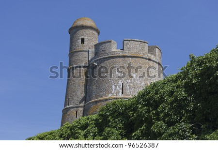 Lookout Tower Vauban of Fort de la Hougue - Built 1694 in Saint-Vaast-la-Hougue, Basse Normandy, France