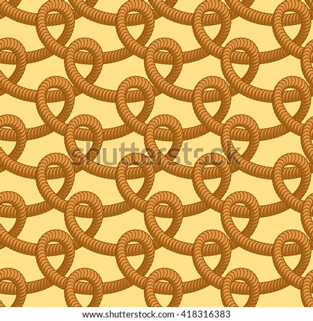 Loop rope seamless pattern. Thick ropes ornament. Zigzag of braided cordage fabric texture