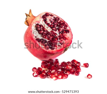 Loose pomegranates isolated on white background
