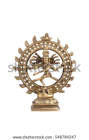 Lord Shiva made of metal on a white background