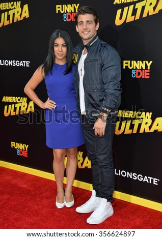 "LOS ANGELES, CA - AUGUST 18, 2015: John DeLuca & Chrissie Fit at the world premiere of ""American Ultra"" at The Ace Hotel Downtown."
