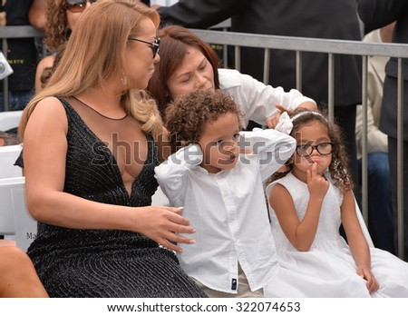 LOS ANGELES, CA - AUGUST 5, 2015: Mariah Carey & her twins Morocco & Monroe Cannon on Hollywood Boulevard where she was honored with the 2,556th star on the Hollywood Walk of Fame.