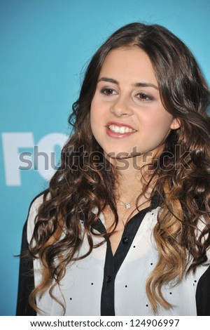 "LOS ANGELES, CA - DECEMBER 17, 2012: Carly Rose Sonenclar at the press conference for the season finale of Fox's ""The X Factor"" at CBS Televison City, Los Angeles."