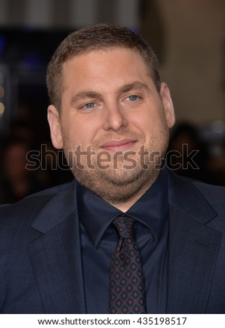 "LOS ANGELES, CA - FEBRUARY 1, 2016: Actor Jonah Hill at the world premiere of his movie ""Hail Caesar!"" at the Regency Village Theatre, Westwood."