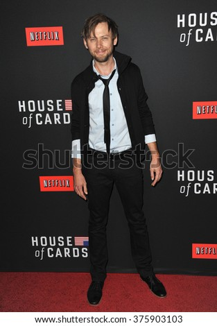 "LOS ANGELES, CA - FEBRUARY 13, 2014: Jimmi Simpson at the season two premiere of his Netflix series ""House of Cards"" at the Directors Guild Theatre."