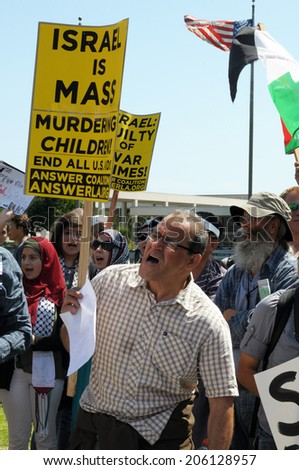 LOS ANGELES, CA  JULY 20,2014: Palestinian activists protest Israeli military action in Gaza.