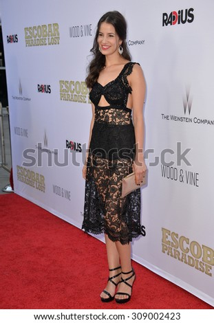 "LOS ANGELES, CA - JUNE 22, 2015: Actress Laura Londono at the Los Angeles premiere of her movie ""Escobar: Paradise Lost"" at the Arclight Theatre, Hollywood."