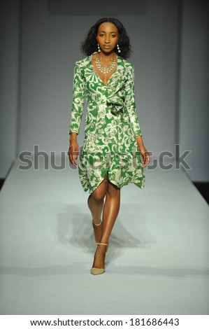 LOS ANGELES, CA - MARCH 10: A model walks the runway at Mariely Pratts fashion show during Style Fashion Week Fall 2014 at The Live Arena on March 10, 2014 in Los Angeles.