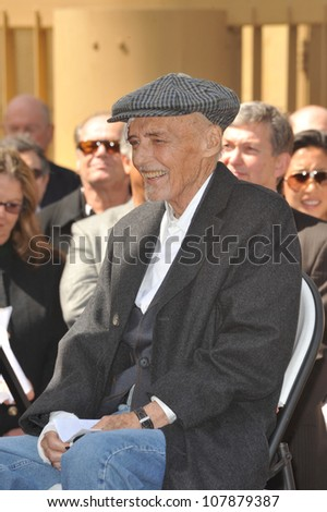LOS ANGELES, CA - MARCH 26, 2010: Actor Dennis Hopper on Hollywood Boulevard where he was honored with the 2,403rd star on the Hollywood Walk of Fame.