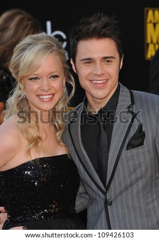 LOS ANGELES, CA - NOVEMBER 22, 2009: Kris Allen & wife at the 2009 American Music Awards at the Nokia Theatre L.A. Live.