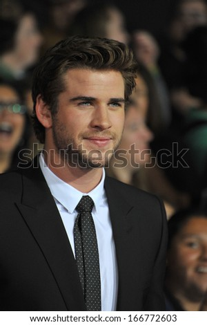 "LOS ANGELES, CA - NOVEMBER 18, 2013: Liam Hemsworth at the US premiere of his movie ""The Hunger Games: Catching Fire"" at the Nokia Theatre LA Live."
