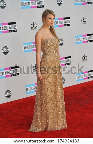 LOS ANGELES, CA - NOVEMBER 20, 2011: Taylor Swift arriving at the 2011 American Music Awards at the Nokia Theatre, L.A. Live in downtown Los Angeles.