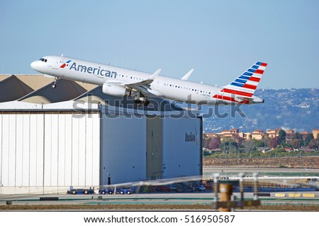 LOS ANGELES/CALIFORNIA - NOV. 13, 2016: American Airlines Airbus A321-231(WL) is airborne as it departs Los Angeles International Airport, Los Angeles, California USA