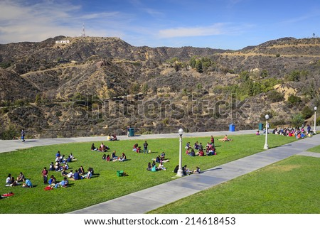 LOS ANGELES, CALIFORNIA - NOVEMBER 6, 2013: Students picnic at Griffith Park. The park is considered one of the largest urban parks in North America.