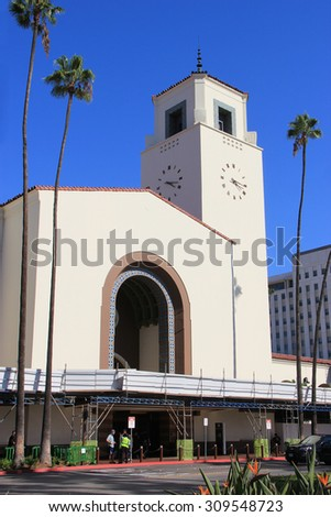 Los Angeles, California, USA - August 14, 2015: Los Angeles Union Station, a major transportation hub for Southern California, is the largest railroad passenger terminal in the Western United States.