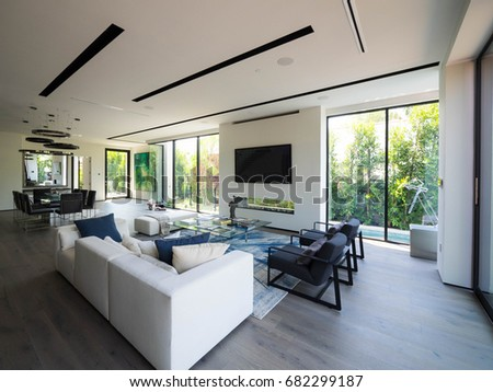 Los Angeles, California USA. July 17, 2017. New Construction Modern Home  Interior