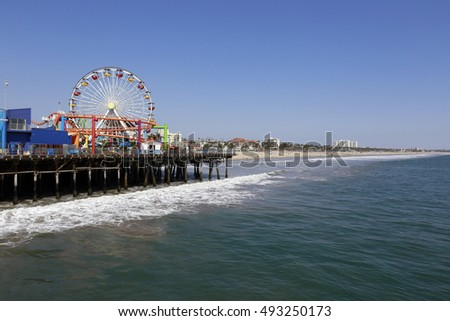 LOS ANGELES, CALIFORNIA, USA - JUN 03, 2015 - view of pier santa monica with ferry wheel