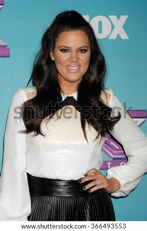 LOS ANGELES - DEC 19 - Khloe Kardashian Odom arrives at the X Factor 2012 Season Finale Day 1  on December 19, 2012 in Los Angeles, CA