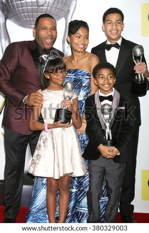 LOS ANGELES - FEB 5: Anthony Anderson, Yara Shahidi, Marcus Scribner (back), Miles Brown, Marsai Martin (front) at the 47TH NAACP Image Awards Press Room on February 5, 2016 in Pasadena, CA