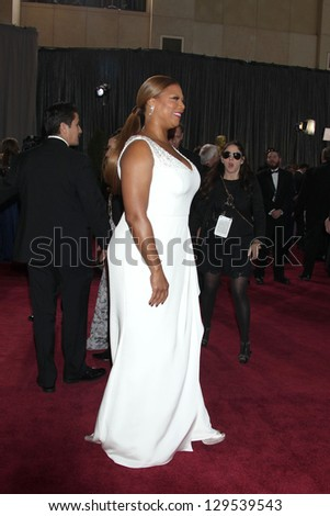LOS ANGELES - FEB 24:  Queen Latifah arrives at the 85th Academy Awards presenting the Oscars at the Dolby Theater on February 24, 2013 in Los Angeles, CA