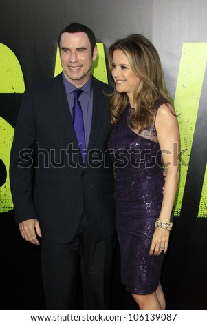 "LOS ANGELES - JUN 25:  John Travolta, Kelly Preston arrives at the ""Savages"" Premiere at Village Theater on June 25, 2012 in Westwood, CA"