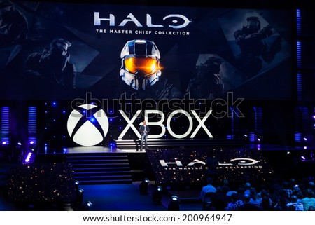 LOS ANGELES - JUNE 9:  Microsoft introducing Halo The Master Chief Collection at Xbox media briefing at E3 2014, the Expo for video games on June 9, 2014 in Los Angeles