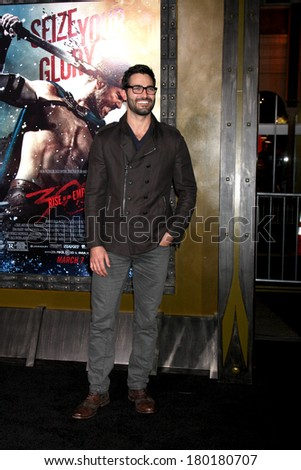 "LOS ANGELES - MAR 4:  Tyler Hoechlin at the ""300: Rise Of An Empire"" Premiere at TCL Chinese Theater on March 4, 2014 in Los Angeles, CA"