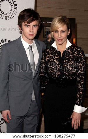 "LOS ANGELES - MAY 10:  Freddie Highmore and Vera Farmiga arrive at the ""Bates Motel"" Reimagining A Cinema Icon Event at the Paley Center For Media on May 10, 2013 in Beverly Hills, CA"