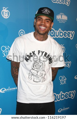 LOS ANGELES - OCT 20:  Chris Brown arrives at  the Qubeeys Chris Brown Channel Launch Event at Private Residence on October 20, 2012 in Beverly Hills, CA