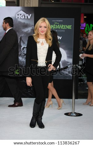 "LOS ANGELES - SEP 24:  Peyton List arrives at the ""Frankenweenie"" Premiere at El Capitan Theater on September 24, 2012 in Los Angeles, CA"