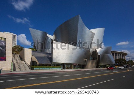 Los Angeles, USA - March 27, 2014: Walt Disney Concert Hall in downtown Los Angeles. The concert hall houses the Los Angeles Philharmonic Orchestra and is a design by architect Frank Gehry.