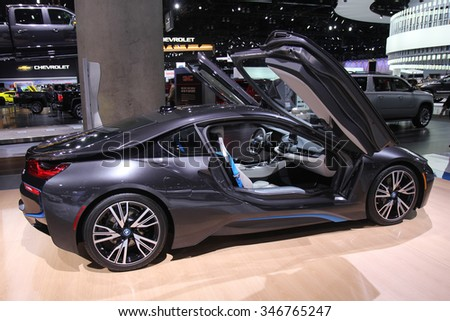 Los-Angeles, USA - Nov 18, 2015: BMW i8 electric sedan at the LA Auto Show on Nov 18, 2015 in LA, California