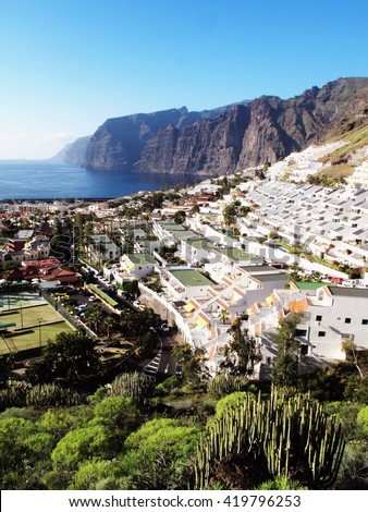 Los Gigantes, Tenerife, Canary Islands, Spain, famous for its giant cliffs of the ridge of the Teno massif which is 6 miles long and is a small holiday resort town
