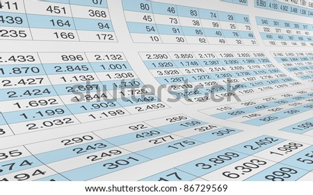 lot of numbers on a spreadsheet (3d render)