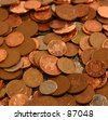 lots of british 1 pence and 2 pence coins - stock photo