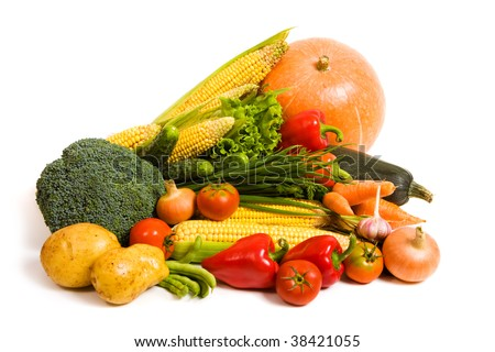 Lots of fresh ripe vegetables isolated on white background