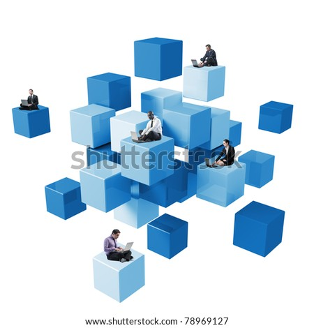 lots of people sit on 3d abstract cube using laptop