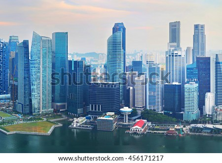 Lots of skyscrapers in Singapore Downtown. Aerial view